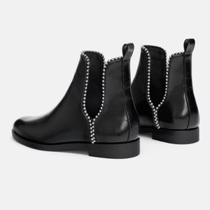 Zara Faux Leather Metal Studded Slit Ankle Booties